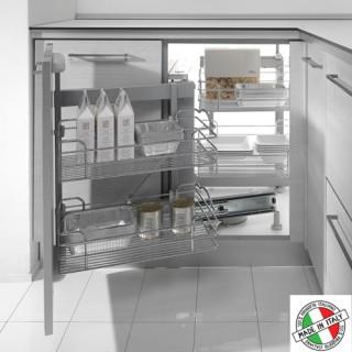 Μηχανισμός κουζίνας Magic corner με φρένο Inoxa 803B με συρμάτινα καλάθια