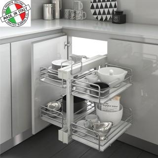 Μηχανισμός κουζίνας με φρένο για τυφλό ντουλάπι Inoxa Compact Elite 838BE για πόρτα 45cm
