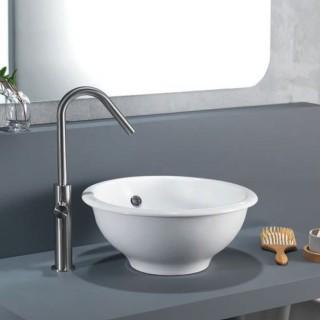 Νιπτήρας μπάνιου σε λευκό γυαλιστερό χρώμα Scarabeo In-Out Επιτραπέζιας Τοποθέτησης 8021