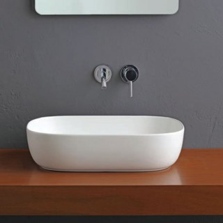 Νιπτήρας μπάνιου σε λευκό ματ χρώμα Scarabeo Glam 1804-301