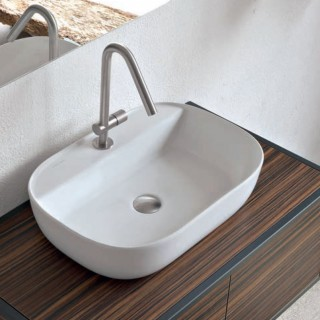 Νιπτήρας μπάνιου σε λευκό ματ χρώμα Scarabeo Glam/R 1802-301