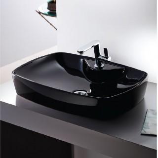 Νιπτήρας μπάνιου σε μαύρο γυαλιστερό χρώμα Serel 60x44 1633-400